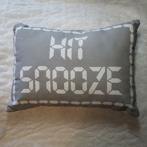 "💲5️⃣  ""Hit Snooze"" Pillow, accent bed pillow grey"